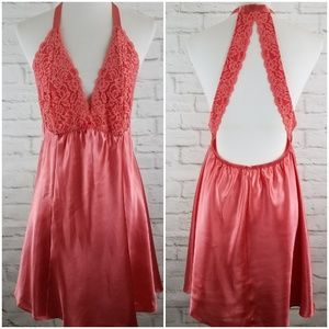 Cacique Nightgown Orange Satin and Lace Low Back